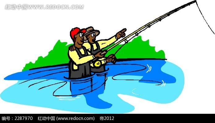 捕鱼的男子卡通手绘