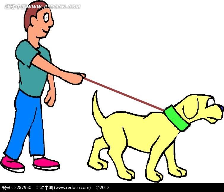 牵狗的男孩卡通手绘