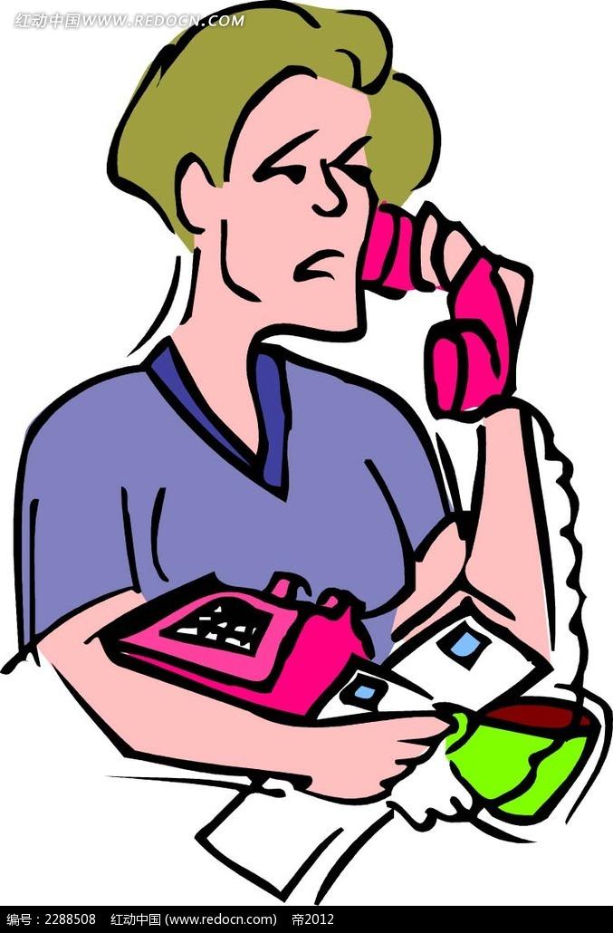 打电话的男子卡通手绘图片