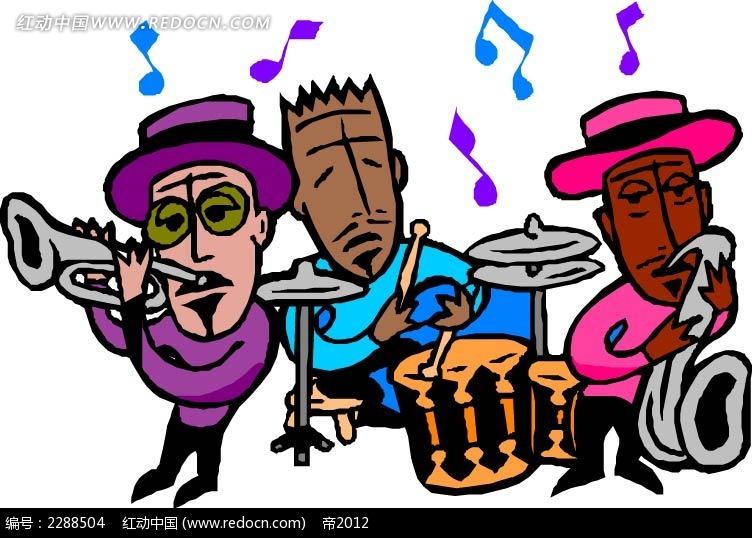 乐队演奏卡通手绘