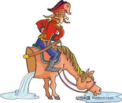马和士兵卡通手绘