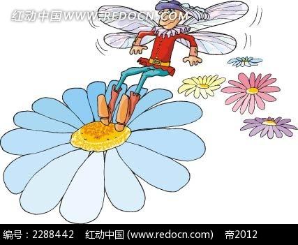 蜜蜂和花朵卡通手绘