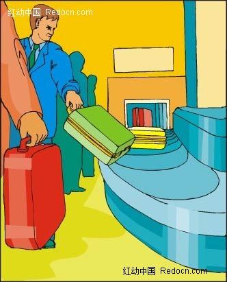 行李箱和人卡通手绘
