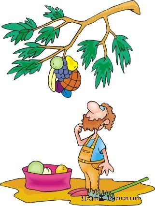 水果和男子卡通手绘