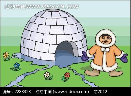 男孩和冰房子卡通手绘