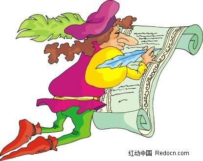 写字的女子卡通手绘