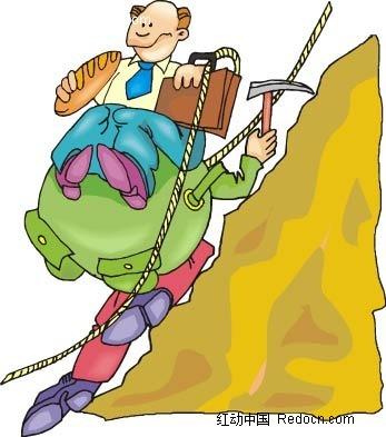 登山的男子卡通手绘
