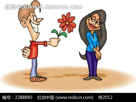 送花给女朋友时尚矢量人物漫画ai免费下载_卡通形象