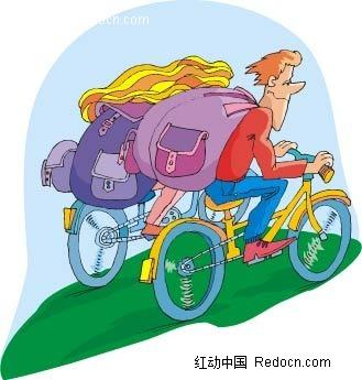 骑自行车的情侣韩国人物漫画AI素材免费下载 红动网图片
