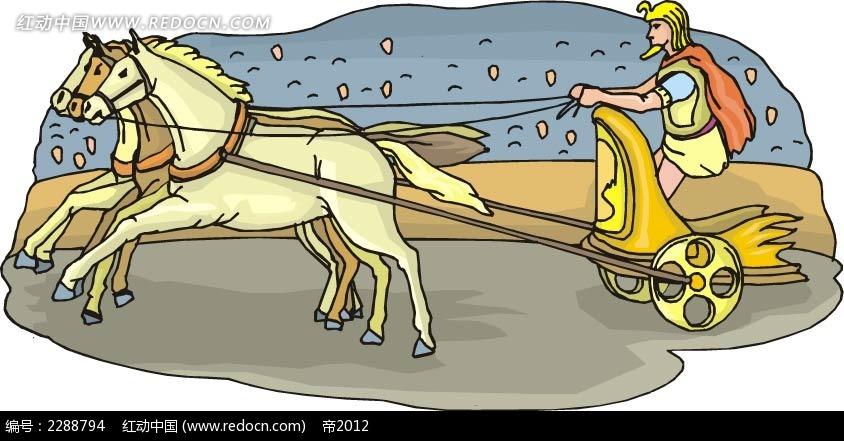 驾着马车的太阳神韩国矢量插画矢量图