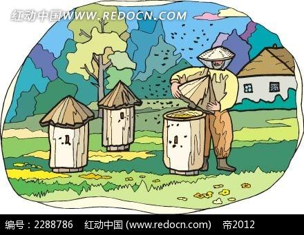 免费素材 矢量素材 矢量人物 卡通形象 酿蜂蜜的花农韩国矢量插画