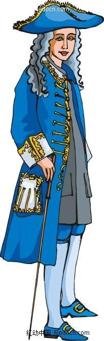 穿着蓝色衣服的古代贵族韩国人物插画