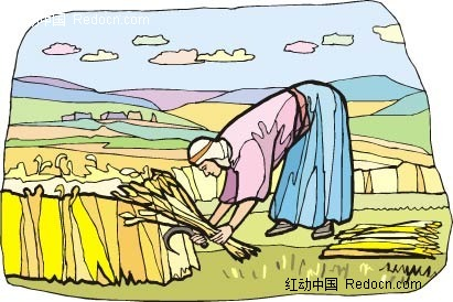 割麦子人物插图AI素材免费下载 编号2288614 红动网