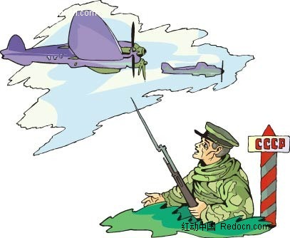 战壕中的军人 时尚风格插画