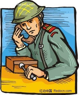 打电话的士兵卡通手绘