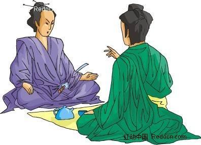 喝茶的男子卡通手绘