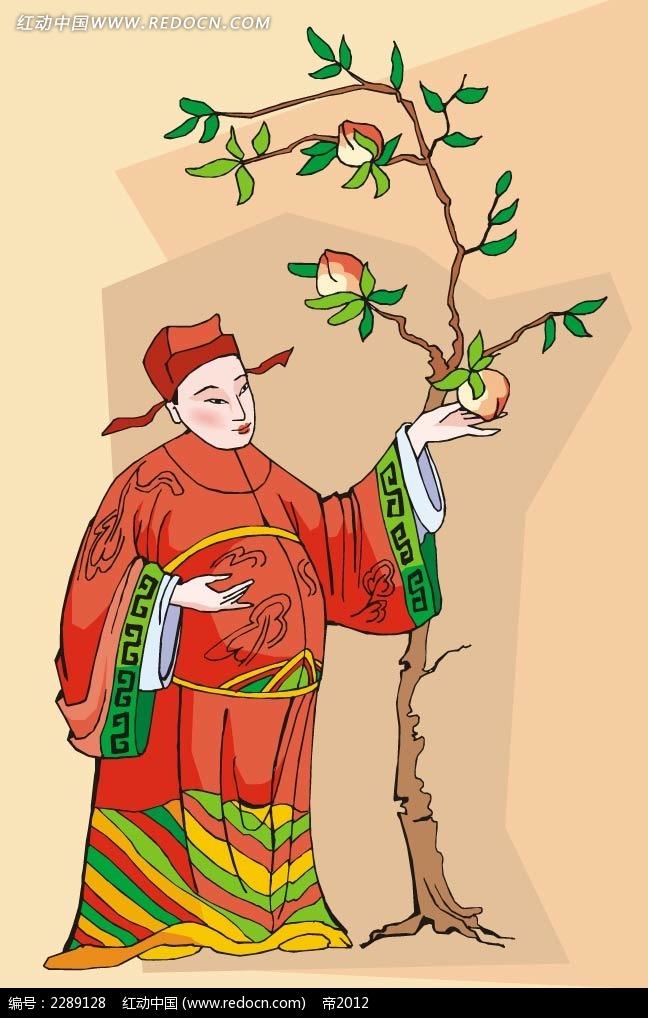 桃树和古装男子卡通手绘