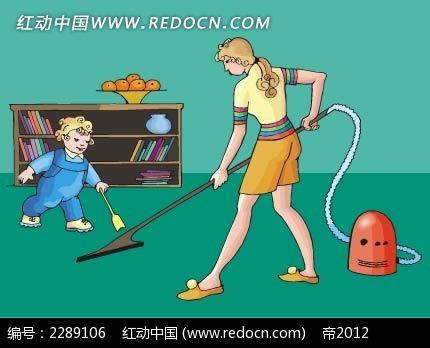 扫地的女子和小孩卡通手绘