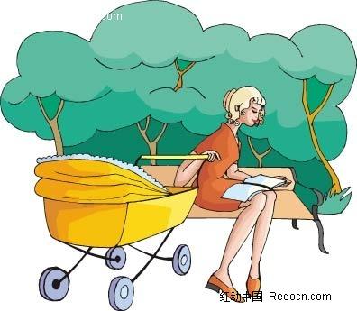 女子和婴儿车卡通手绘