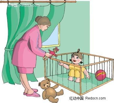 母亲和女儿卡通手绘