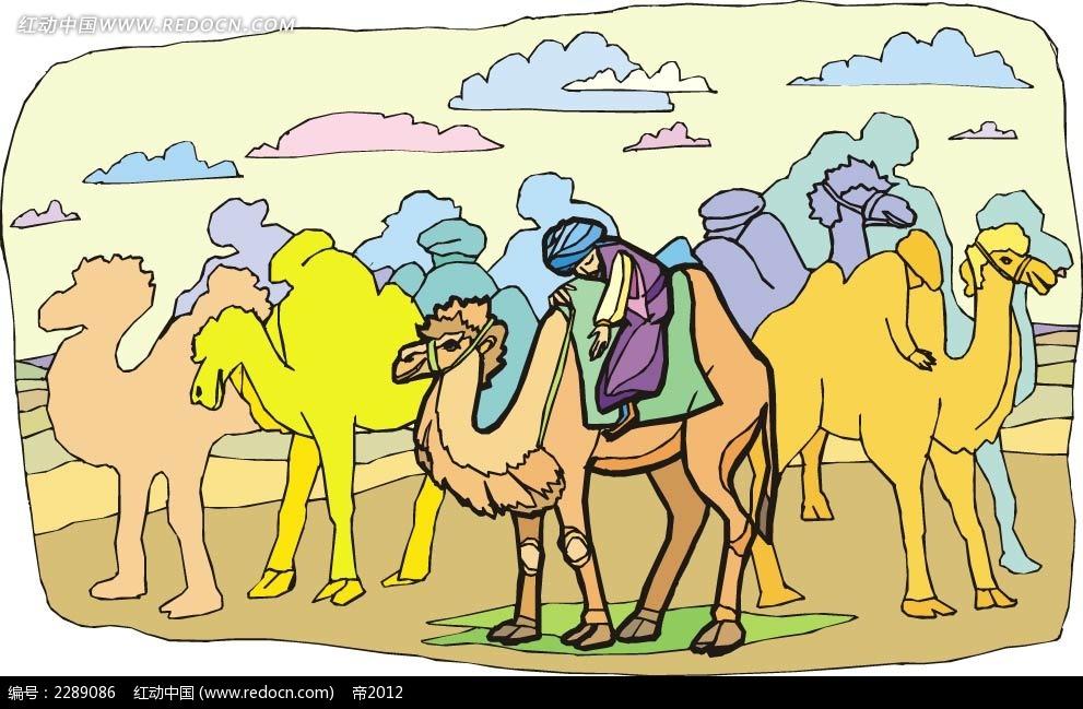 骆驼和男子卡通手绘图片