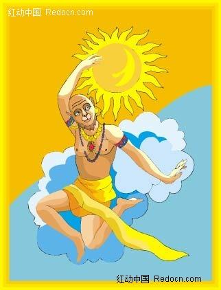 印度太阳神卡通矢量人物插画