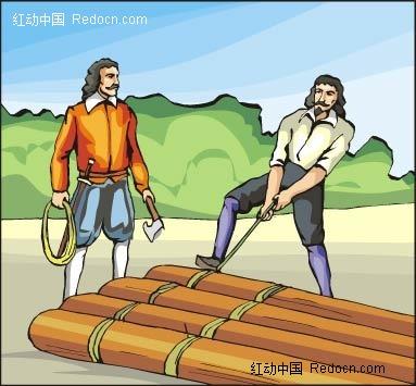 做木筏的男子卡通手绘