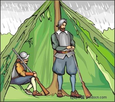 枪和男子卡通手绘