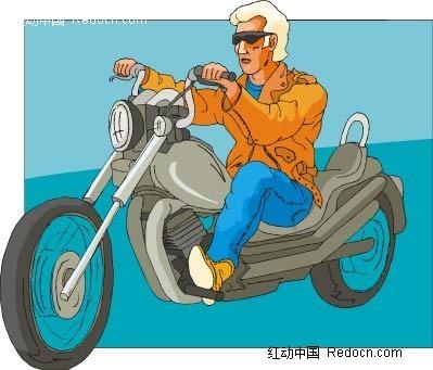 骑摩托车的男子卡通手绘