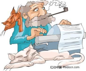 猫和抽烟的男子卡通手绘
