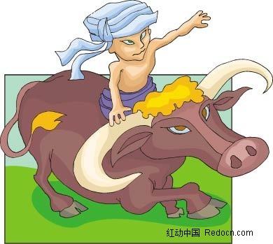 骑牛的小孩卡通手绘