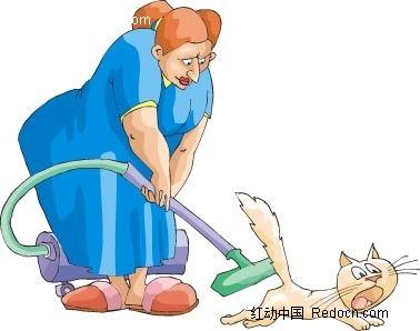做清洁的女子卡通手绘