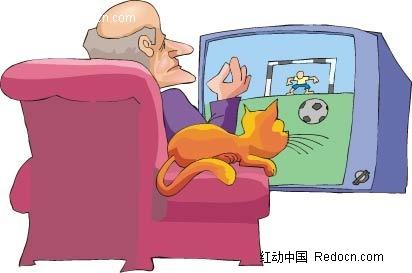看电视卡通手绘