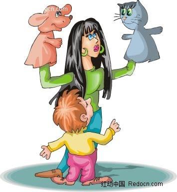 女人和小孩卡通手绘