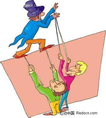 男子和木偶戏卡通手绘