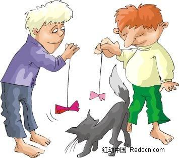 男孩和猫卡通手绘