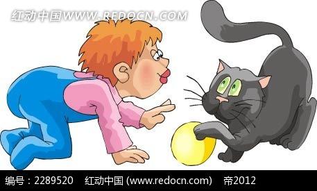 猫和男孩卡通手绘