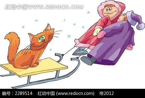 猫和小孩卡通手绘