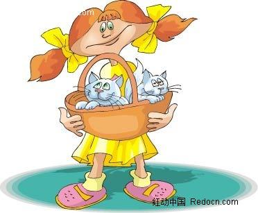 女孩和猫卡通手绘