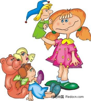 女孩和玩具卡通手绘