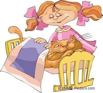 猫和女孩卡通手绘