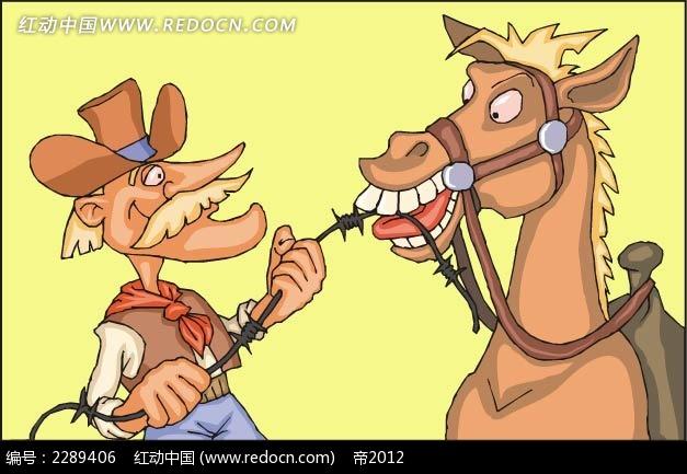 西部牛仔和马角色插画矢量图