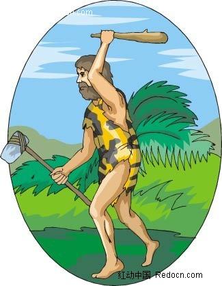 出去狩猎的洞穴人矢量人物插画图片