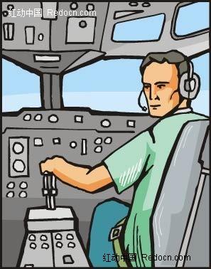 开飞机的驾驶员卡通矢量人物插画