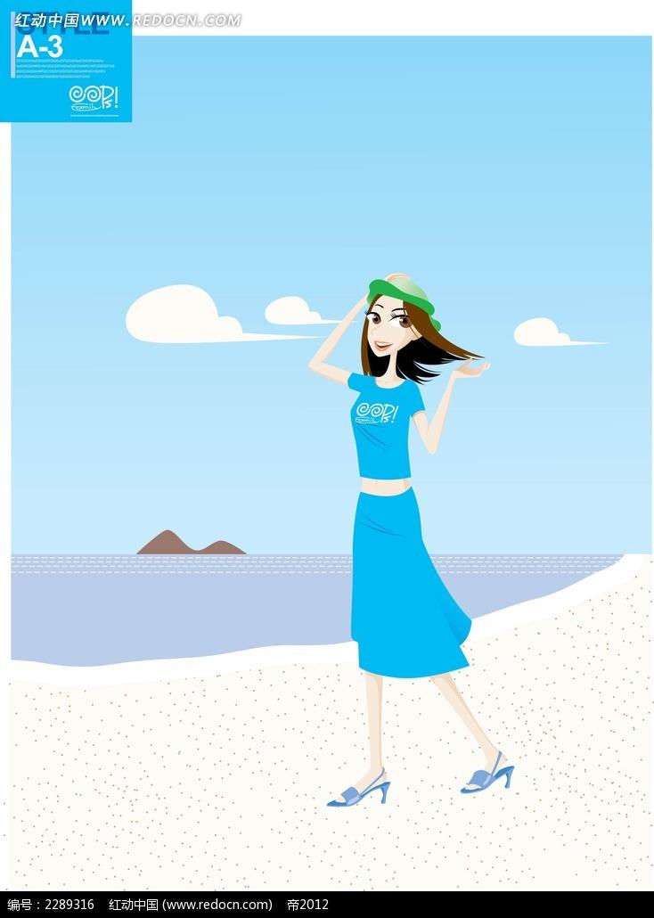 穿着蓝色连衣裙的女孩卡通矢量人物插画