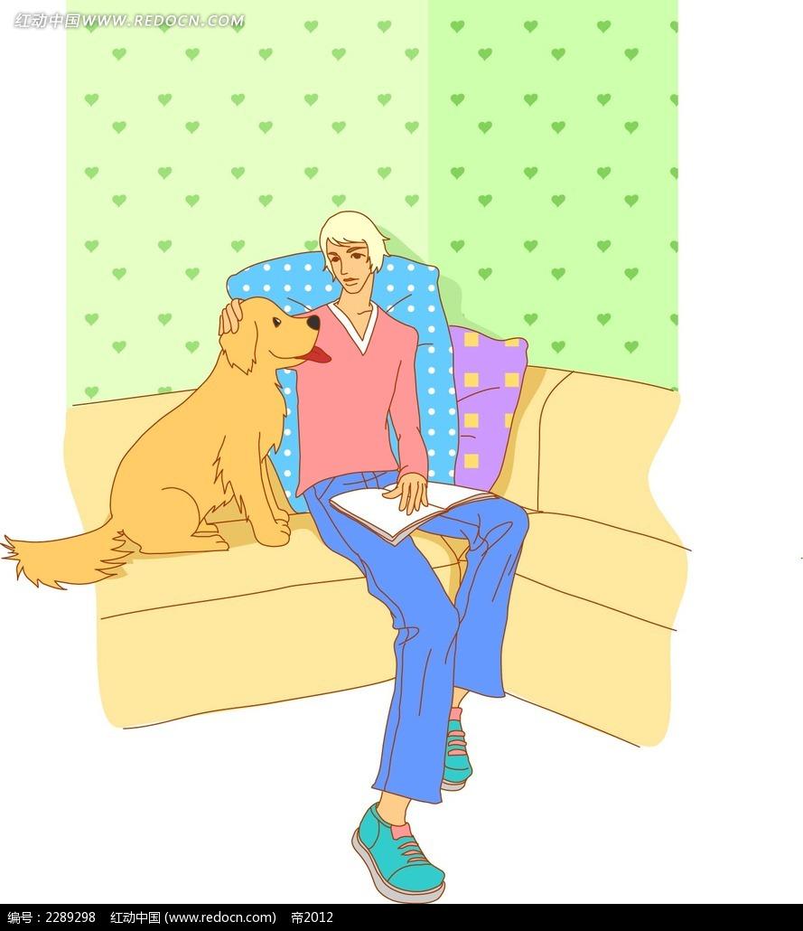 男子和小狗卡通手绘