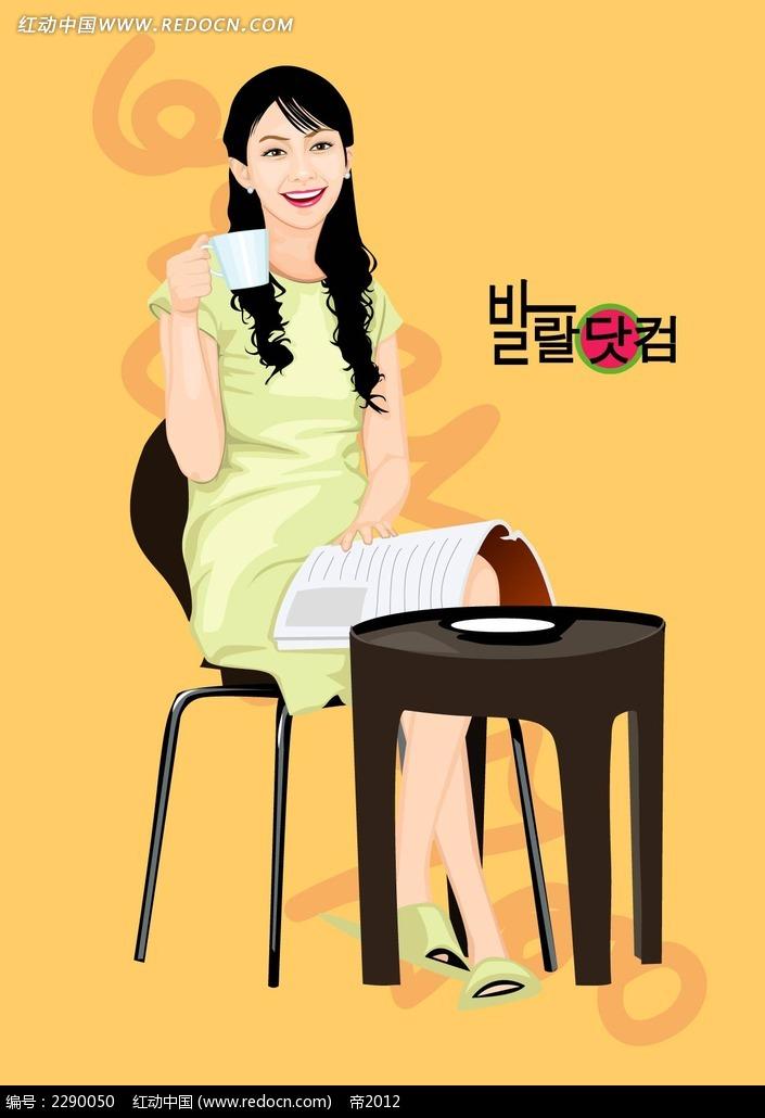 喝茶的美女卡通手绘