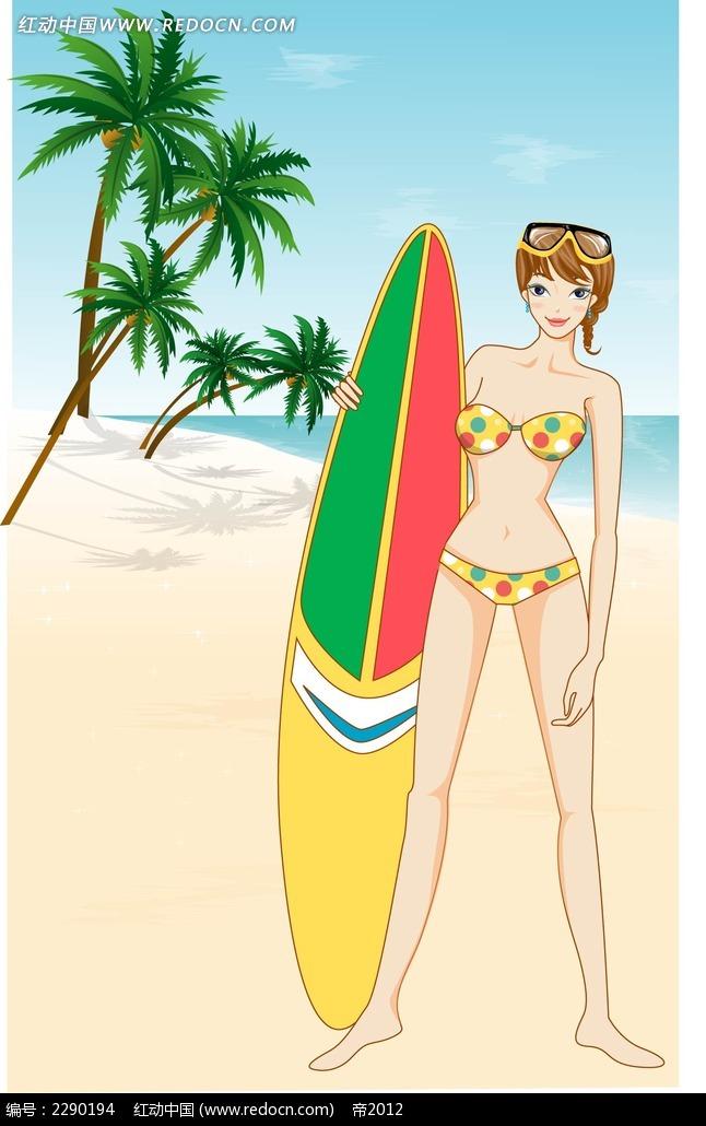 泳装美女卡通手绘