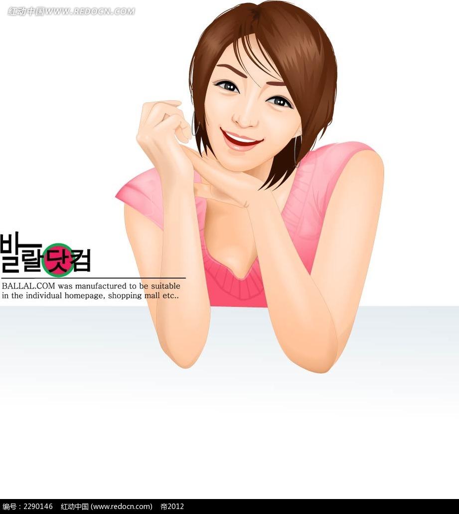 短发时尚女性面部插画