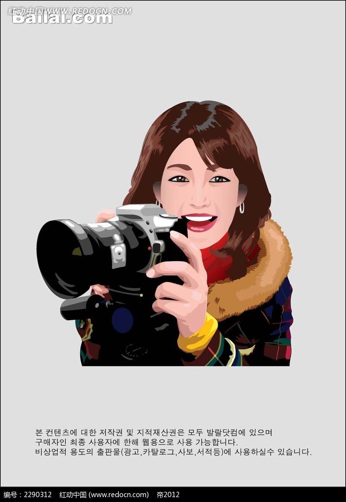 手拿相机的女子卡通手绘AI素材免费下载 编号2290312 红动网